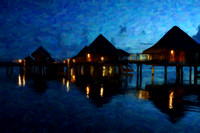Overwater Bungalows at Night Painting